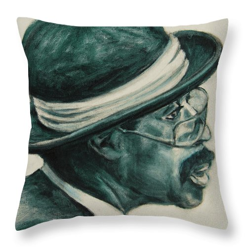 Black Throw Pillow featuring the painting Mr Bowler Mustache by Xueling Zou