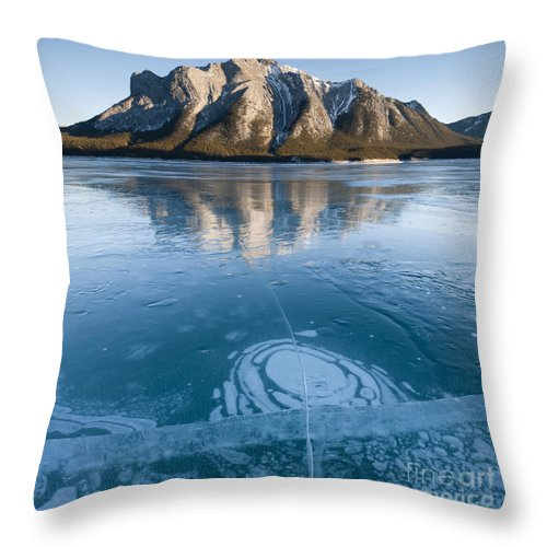 Nature Throw Pillow featuring the photograph Mt. Michener And Ice On Abraham Lake by John Shaw