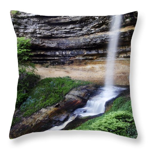 3scape Throw Pillow featuring the photograph Munising Falls by Adam Romanowicz