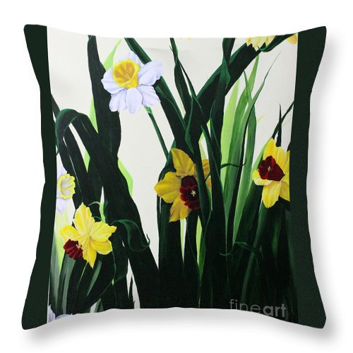 Dlgerring Throw Pillow featuring the painting Nature's Trumpets by D L Gerring