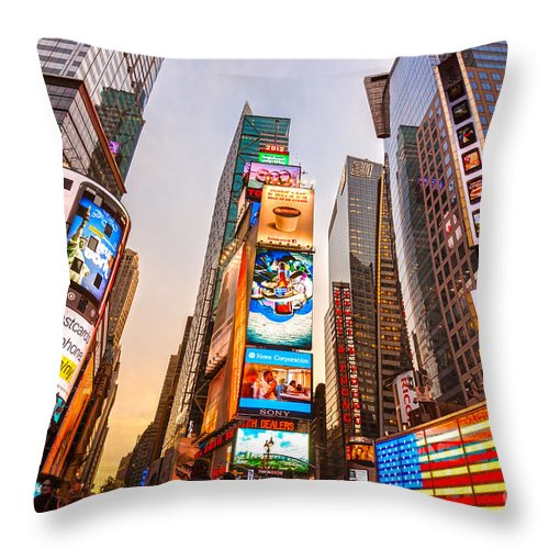 Angle Throw Pillow featuring the photograph New York City - Times Square by Luciano Mortula