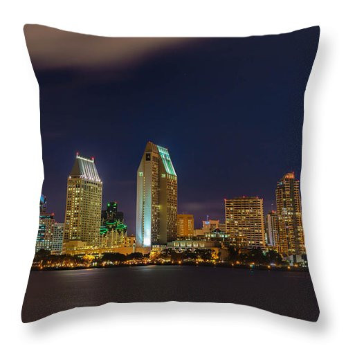 San Diego Bay Throw Pillow featuring the photograph Cityscape San Diego Bay by Michelle Choi