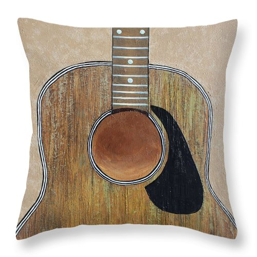 Gibson Throw Pillow featuring the painting No Strings Attached by Steve Hester