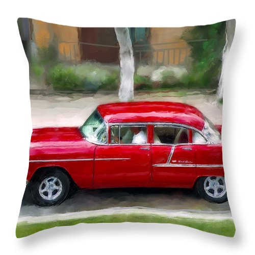 Cuba Throw Pillow featuring the photograph Red Bel Air by Juan Carlos Ferro Duque