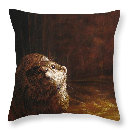 Otter Throw Pillow featuring the painting Otter Curiosity by Cara Bevan