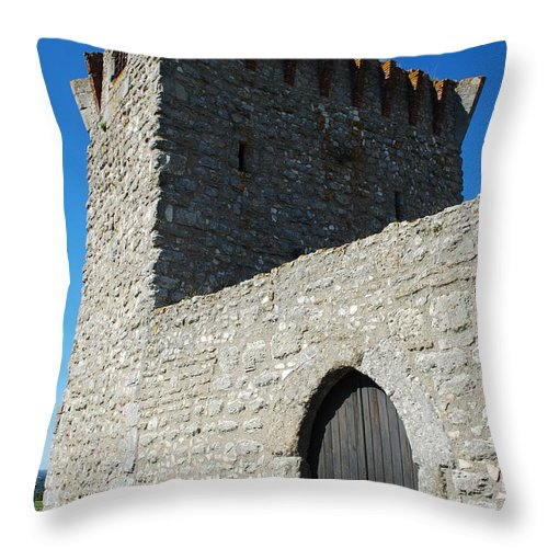 Door Throw Pillow featuring the photograph Ourem Castle by Luis Alvarenga