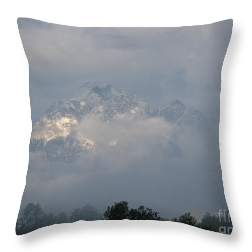 Rocky Mountains Throw Pillow featuring the photograph Out Of The Clouds by Greg Patzer