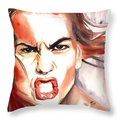 Outraged Woman Throw Pillow featuring the painting Outrage by Michal Madison