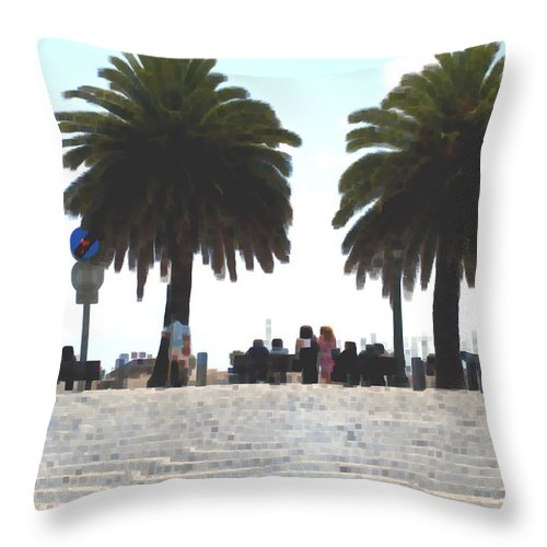 Macro Throw Pillow featuring the photograph Palm Mirage by Dave Byrne