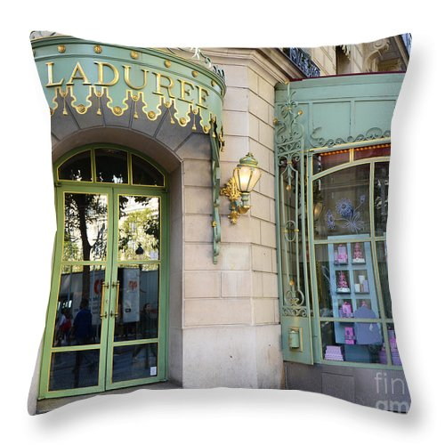 Laduree Paris Patisserie Throw Pillow featuring the photograph Paris Laduree Macaron French Bakery Patisserie Tea Shop - Champs Elysees - The Laduree Patisserie by Kathy Fornal
