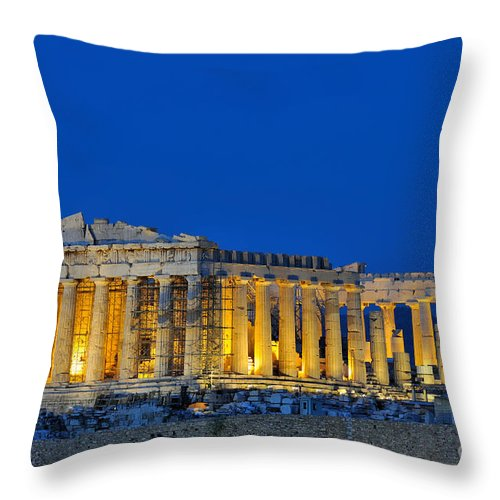Acropolis; Acropoli; Akropoli; Akropolis; Parthenon; Monument; Athens; City; Capital; Attica; Attika; Attiki; Greece; Hellas; Greek; Hellenic; Europe; European; Temple; Ancient; Dusk; Twilight; Evening; Night; Lights; Holidays; Vacation; Travel; Trip; Voyage; Journey; Tourism; Touristic; Summer Throw Pillow featuring the photograph Parthenon In Acropolis Of Athens During Dusk Time by George Atsametakis
