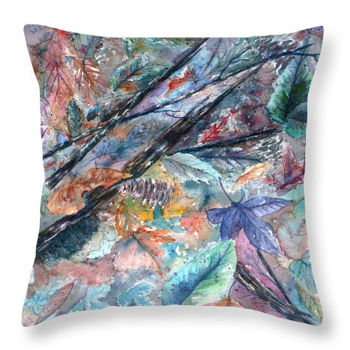 Pine Cones Throw Pillow featuring the painting Pattern of Leaves by Ben Kiger