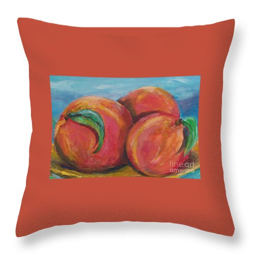 Impressionism Throw Pillow featuring the painting Peaches by Eric Schiabor