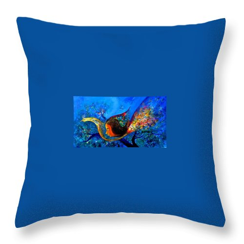 Peacock Throw Pillow featuring the painting Peacock Life by Sanjay Punekar