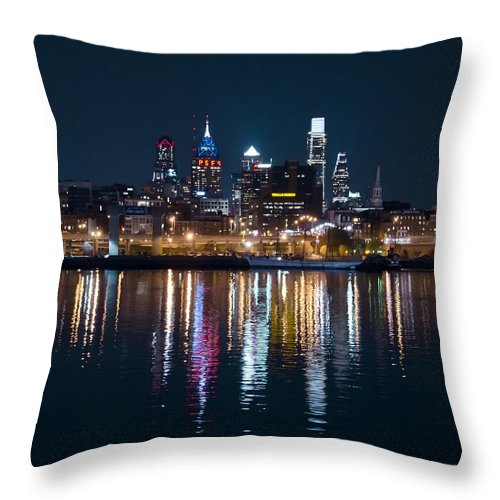 Philadelphia Throw Pillow featuring the photograph Philadelphia Reflections by Bill Cannon