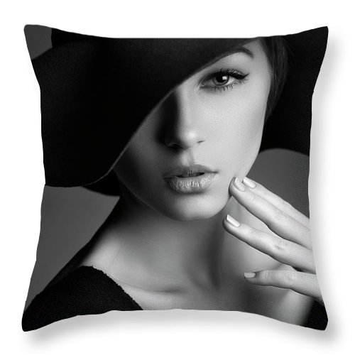 People Throw Pillow featuring the photograph Photo Of Beautiful Woman In Retro Style by Coffeeandmilk