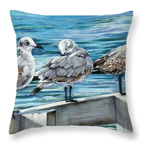 Seagulls Throw Pillow featuring the painting Pier Gulls by Joan Garcia