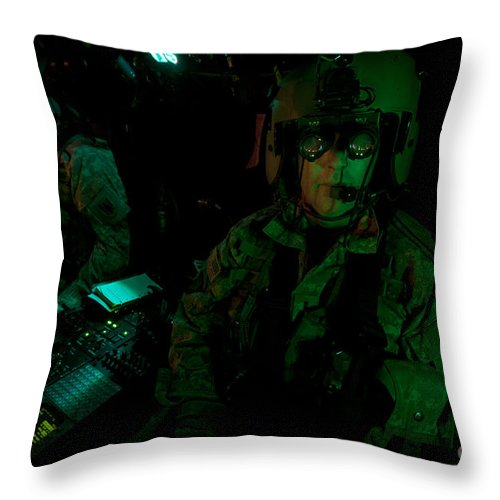 Exercise Angel Thunder Throw Pillow featuring the photograph Pilots Equipped With Night Vision by Terry Moore