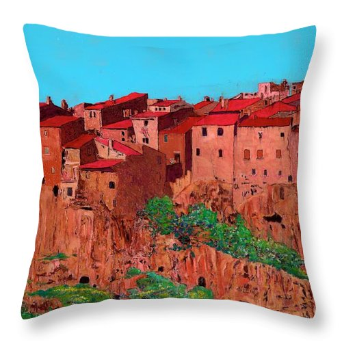 Italy Throw Pillow featuring the painting Pitigliano Village by Allan P Friedlander