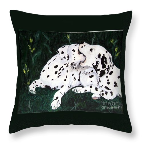 Dogs Throw Pillow featuring the painting Playful Pups by Jacki McGovern