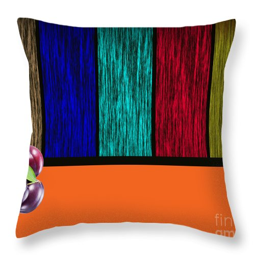 Plums Paintings Throw Pillow featuring the mixed media Plums by Marvin Blaine