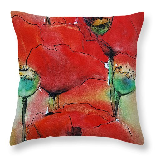 Red Poppies Throw Pillow featuring the painting Poppies I by Jani Freimann