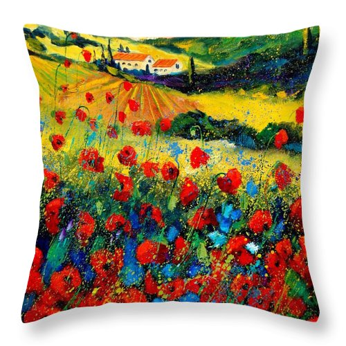 Flowersn Landscape Throw Pillow featuring the painting Poppies in Tuscany by Pol Ledent