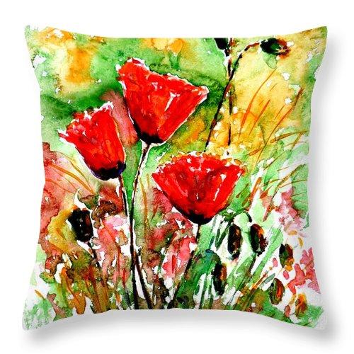 Poppy Lawn Throw Pillow featuring the painting Poppy Lawn by Zaira Dzhaubaeva