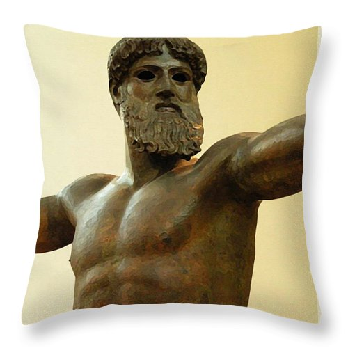 Poseidon Throw Pillow featuring the painting Poseidon by Ellen Henneke
