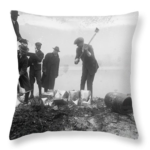 Prohibition Throw Pillow featuring the photograph Prohibition Feds Destroy Liquor 1923 by Daniel Hagerman