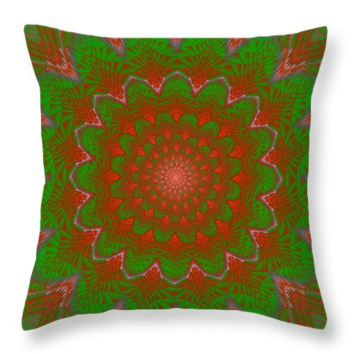 Round Throw Pillow featuring the photograph Psychedelic Spiral Vortex Green And Red Fractal Flame by Keith Webber Jr