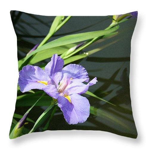 Purple Iris Reflection Throw Pillow featuring the painting Purple Iris Reflection by Ellen Henneke