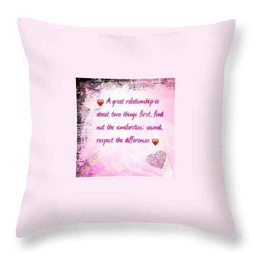 Comment Throw Pillow featuring the photograph A Great Relationship by Meg McG