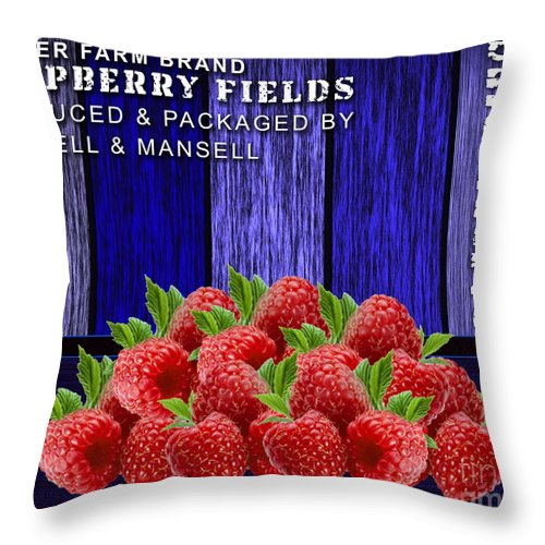 Throw Pillow featuring the mixed media Raspberry Fields by Marvin Blaine