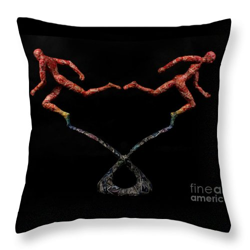 Sculpture Throw Pillow featuring the mixed media Red Shift A Science Sculpture By Adam Long by Adam Long
