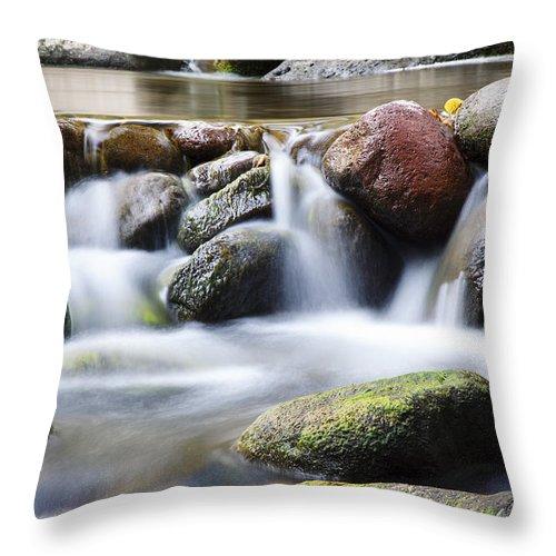 Close Throw Pillow featuring the photograph River Rocks by Jenna Szerlag