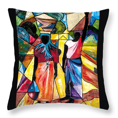 Everett Spruill Throw Pillow featuring the painting Road to the Market by Everett Spruill