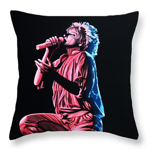 Rod Stewart Throw Pillow featuring the painting Rod Stewart by Paul Meijering