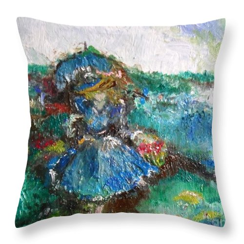 Women Throw Pillow featuring the painting Roses For My Mother by Laurie Lundquist