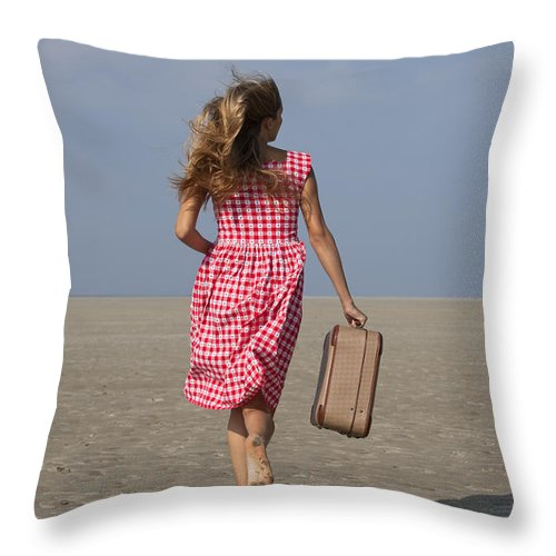 Alone Throw Pillow featuring the photograph Running Away by Maria Heyens
