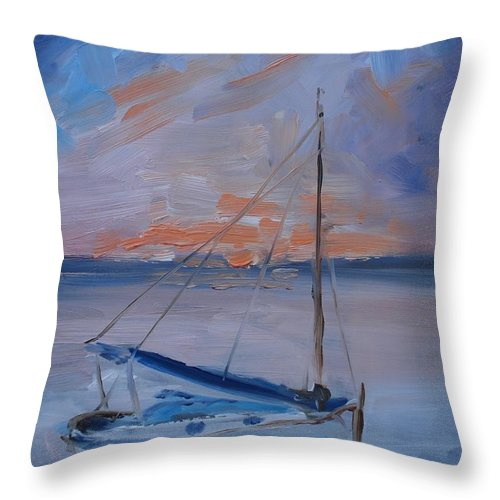Sailboat Throw Pillow featuring the painting Sailboat Reflections II by Donna Tuten