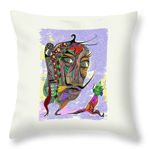 Genia Throw Pillow featuring the drawing Salvador Dali With His Alter-ego by Genia GgXpress