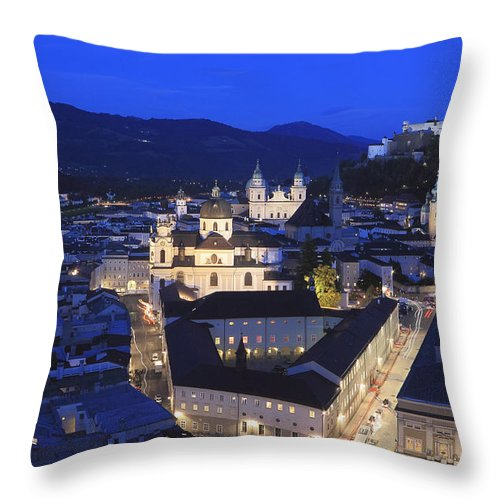 Architecture Throw Pillow featuring the photograph Salzburg At Night Austria by Ivan Pendjakov