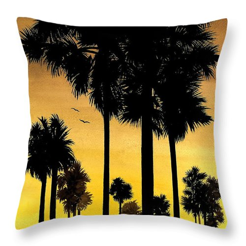 San Diego Sunset Throw Pillow featuring the painting San Diego Sunset by Larry Lehman