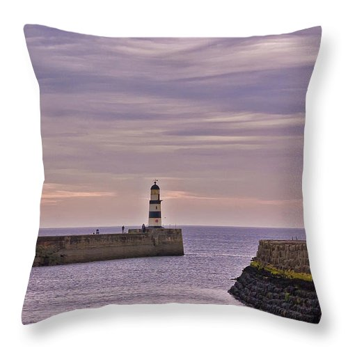 Co. Durham Canvas Throw Pillow featuring the photograph Seaham Harbour by Trevor Kersley