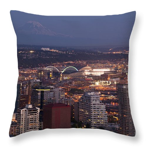Elliott Bay Throw Pillow featuring the photograph Seattle Skyline With Mount Rainier And Downtown City Lights by Jim Corwin