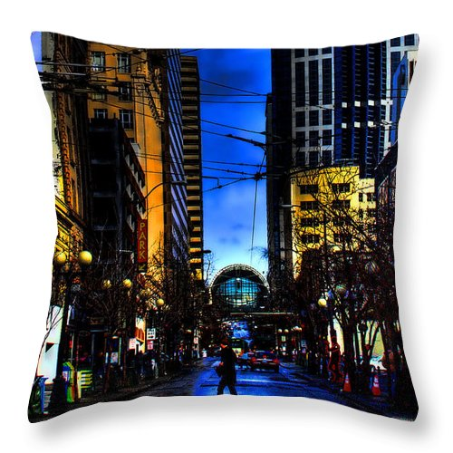 Seattle Throw Pillow featuring the photograph Seattle Streets by David Patterson