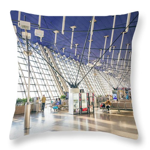 Airport Throw Pillow featuring the photograph Shanghai Pudong Airport In China by Jacek Malipan