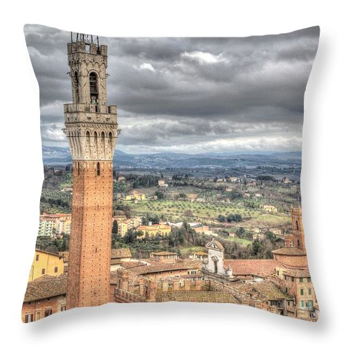 Aerial Throw Pillow featuring the photograph Siena by Ulisse