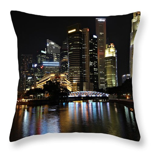 Architecture Throw Pillow featuring the photograph Singapore by Paul Fell